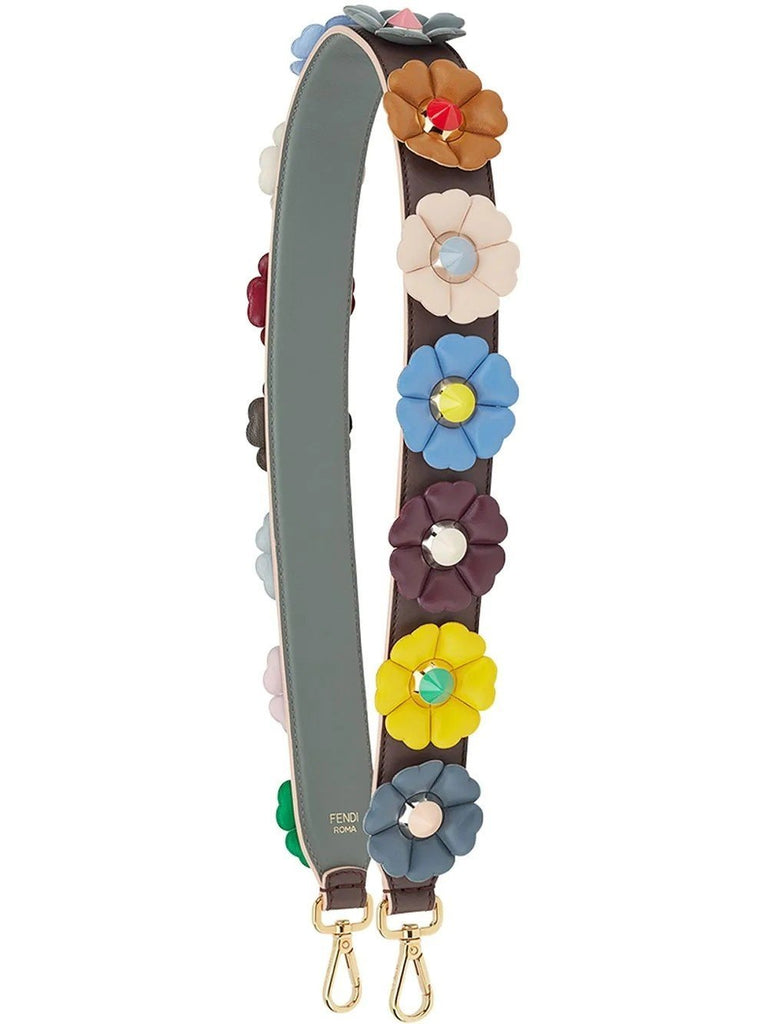 Fendi You Multi Color Flowers Calf Leather Purple Grey Shoulder Strap 8AV077 at_Queen_Bee_of_Beverly_Hills