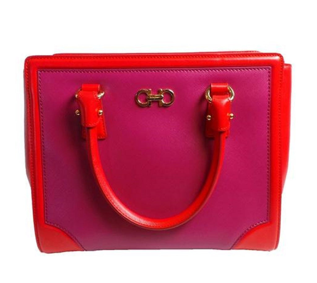 Ferragamo Beky Women's Sangria Pink Satchel Handbag G328/01 at_Queen_Bee_of_Beverly_Hills
