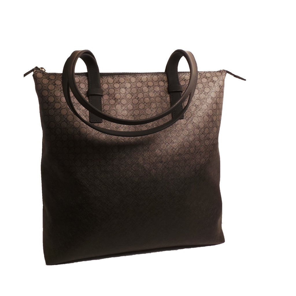 Ferragamo Black Leather Canvas Supreme Bianc Shopping Tote 0194/01 at_Queen_Bee_of_Beverly_Hills