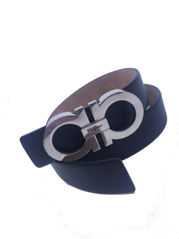 Ferragamo Unisex Size 105 Gancini Black Nero Pebbled Calf Leather Belt XE1150 at_Queen_Bee_of_Beverly_Hills