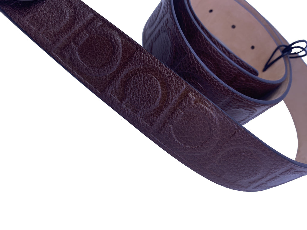Ferragamo Unisex Size 115 Double Gancini Habana Brown Pebbled Leather Belt at_Queen_Bee_of_Beverly_Hills