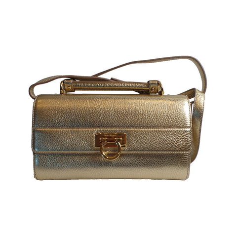 Ferragamo Women's Ably Metallic Gold Bisque Crossbody Handbag F868/02 at_Queen_Bee_of_Beverly_Hills