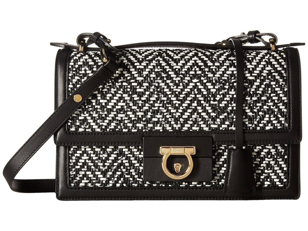 Ferragamo Women's Black and White Aileen Shoulder Handbag G126/01 at_Queen_Bee_of_Beverly_Hills