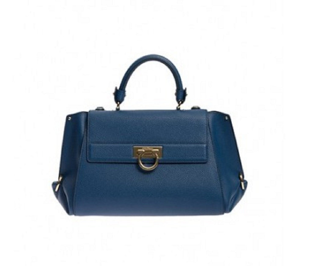 Ferragamo Women's Sofia Blue Indie Leather Shoulder Handbag F606/04 at_Queen_Bee_of_Beverly_Hills