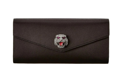 Gucci Animalier Broadway Envelope Black Satin Clutch 531874 at_Queen_Bee_of_Beverly_Hills