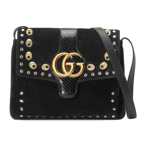 Gucci Arli Medium Python Grommet Suede Black Shoulder Bag 550126 at_Queen_Bee_of_Beverly_Hills