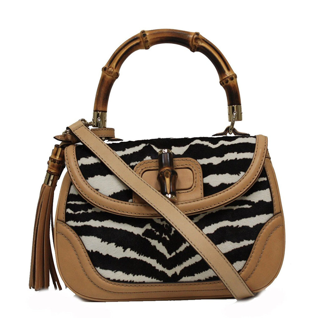 Gucci Bamboo Top Handle Pony Hair Handbag 254884 at_Queen_Bee_of_Beverly_Hills