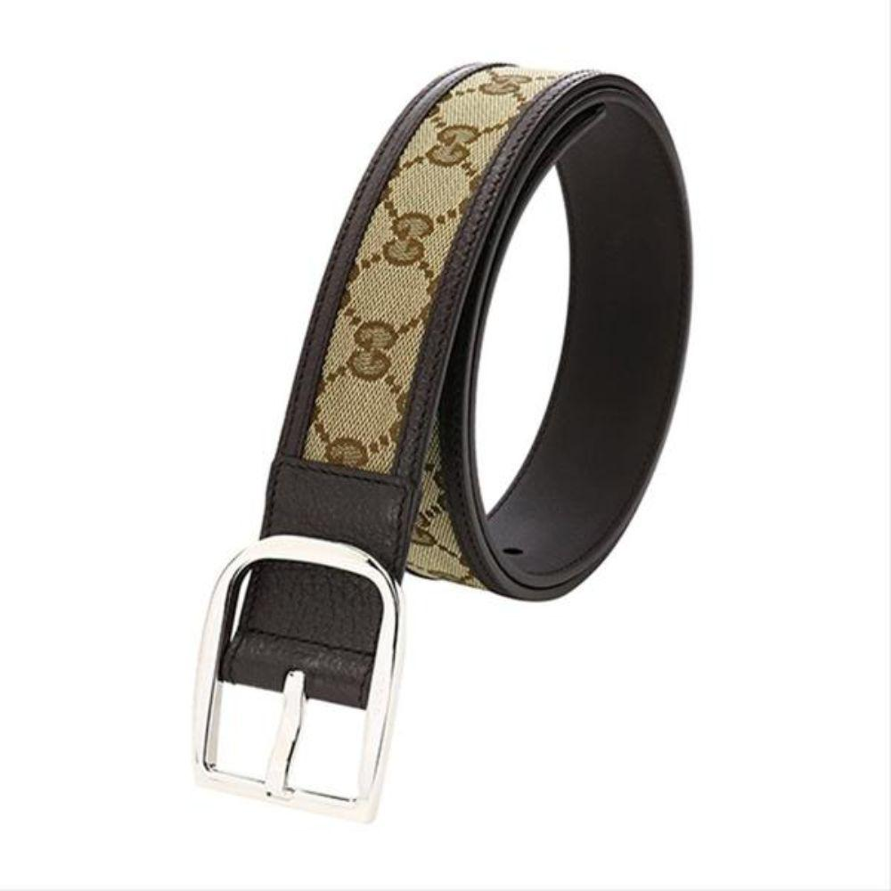 Gucci Belt Canvas Brown Leather Unisex 449716 Size 36/90 at_Queen_Bee_of_Beverly_Hills