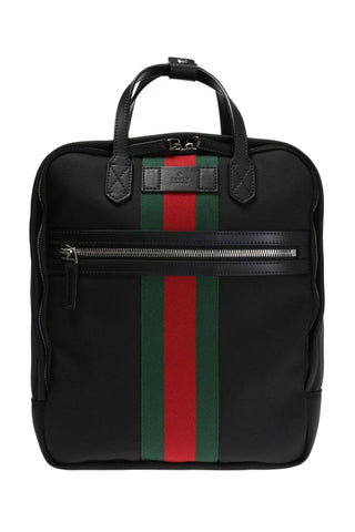 Gucci Black Canvas with Green and Red Web Stripe Satchel Backpack 495558 at_Queen_Bee_of_Beverly_Hills