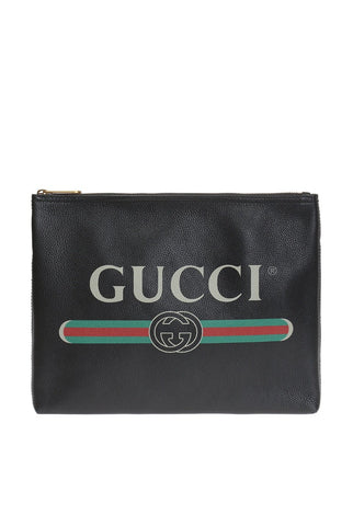 Gucci Black Leather Document Holder Print Logo 500981 at_Queen_Bee_of_Beverly_Hills