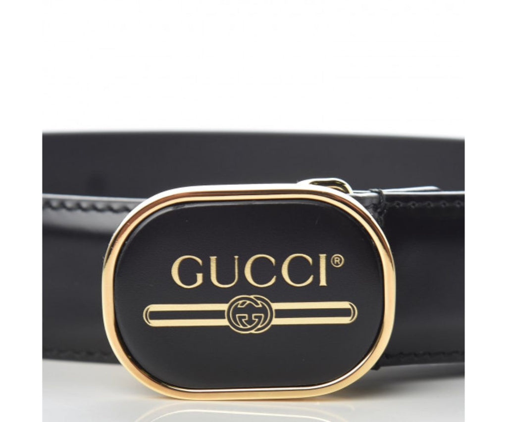 Gucci Black Leather Enamel Logo Buckle 90/36 547754 at_Queen_Bee_of_Beverly_Hills