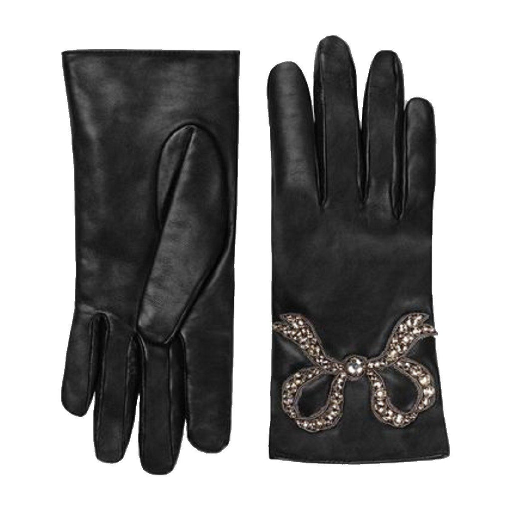 Gucci Black Leather Riding Gloves with Crystal and Silver Bow Design 481679 at_Queen_Bee_of_Beverly_Hills