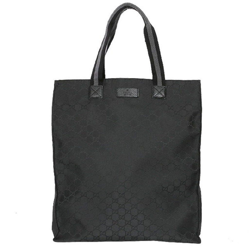 Gucci Black Nylon GG Canvas Medium Leather Open Shopping Tote Bag 449177 at_Queen_Bee_of_Beverly_Hills