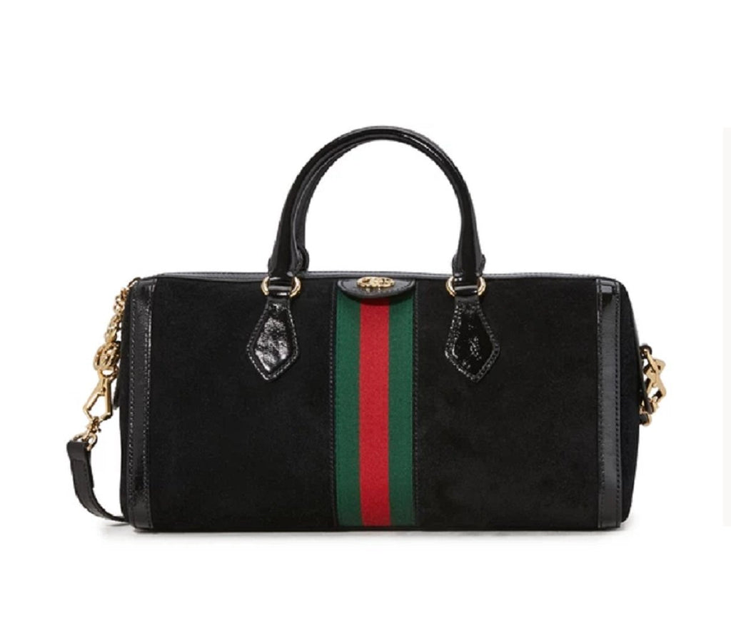 Gucci Black Ophidia Suede Web Stripe Boston Satchel Crossbody Handbag 524532 at_Queen_Bee_of_Beverly_Hills