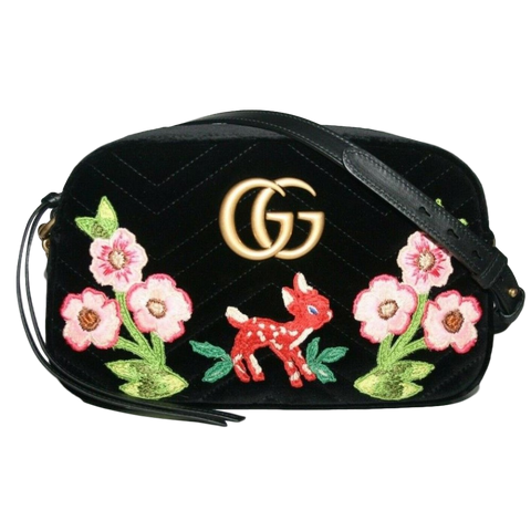 Gucci Black Velvet Embroidered Shoulder Bag 447632 at_Queen_Bee_of_Beverly_Hills