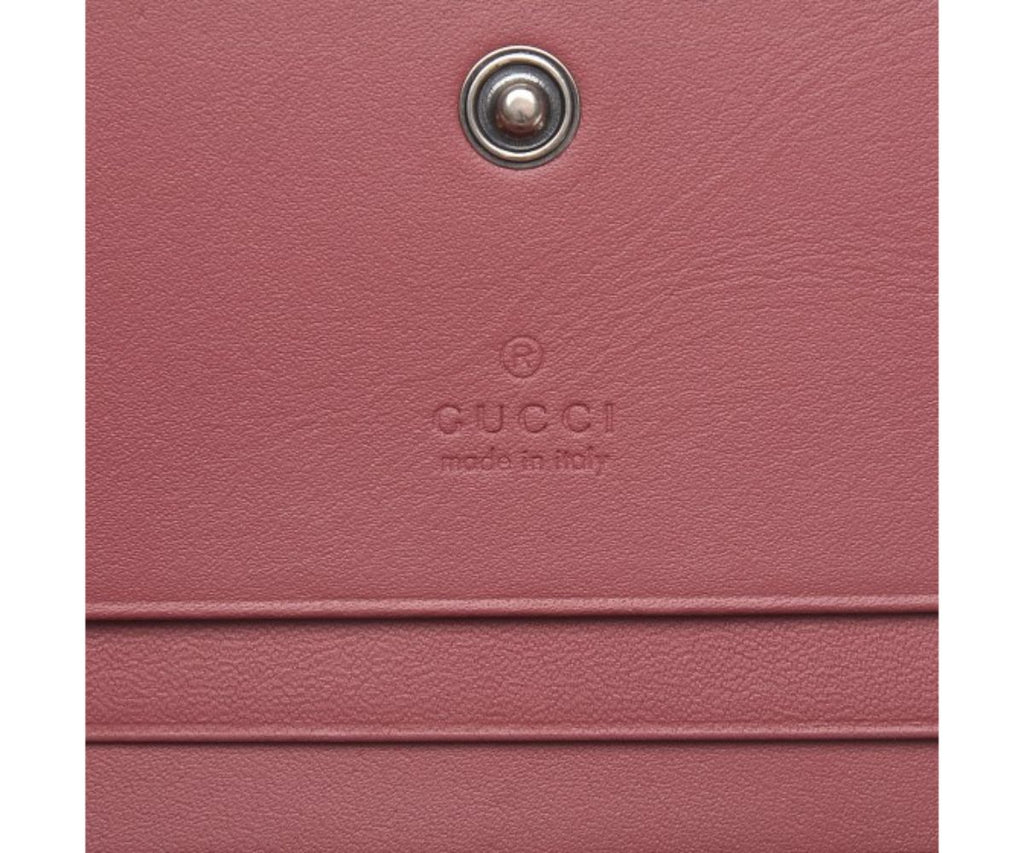 Gucci Blooms Pink Supreme Canvas Leather Flap Wallet 410088 at_Queen_Bee_of_Beverly_Hills
