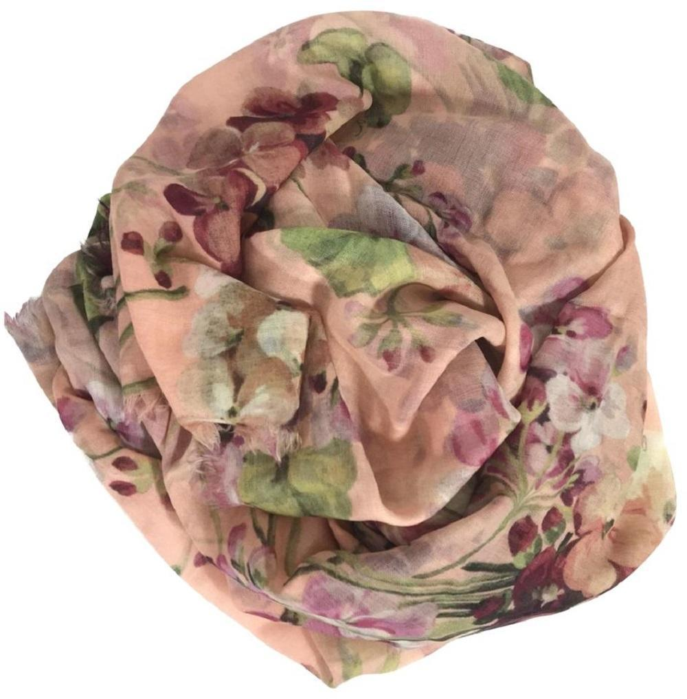 Gucci Blooms Womens Floral Cashmere Pink Geranea Scarf Wrap 406227 at_Queen_Bee_of_Beverly_Hills