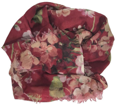 Gucci Blooms Womens Floral Cashmere Red Geranea Scarf Wrap 406227 at_Queen_Bee_of_Beverly_Hills