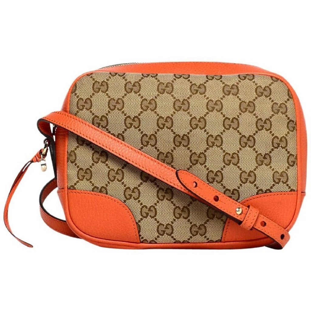 Gucci Bree Beige Original Canvas 'GG' Logo Orange Cross-Body Over The Shoulder Leather Handbag 449413 at_Queen_Bee_of_Beverly_Hills