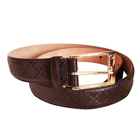 Gucci Brown Diamante Belt with Gold Square Buckle Belt Size: 115-46 345658 at_Queen_Bee_of_Beverly_Hills