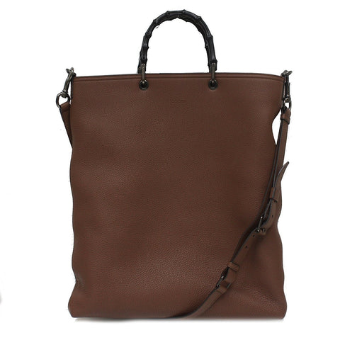 Gucci Brown Leather Bamboo Handle Shopper Tote Bag  with Shoulder Strap 358217 at_Queen_Bee_of_Beverly_Hills