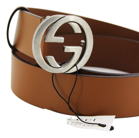 Gucci Brown Leather Silver Toned Hardware Interlocking G Buckle Belt 546389 90/36 at_Queen_Bee_of_Beverly_Hills