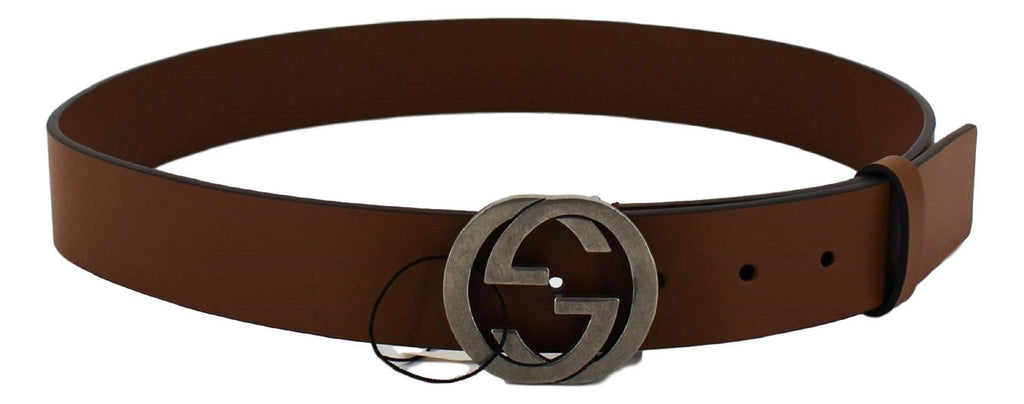 Gucci Brown Leather Silver Toned Hardware Interlocking G Buckle Belt 546389 95/38 at_Queen_Bee_of_Beverly_Hills