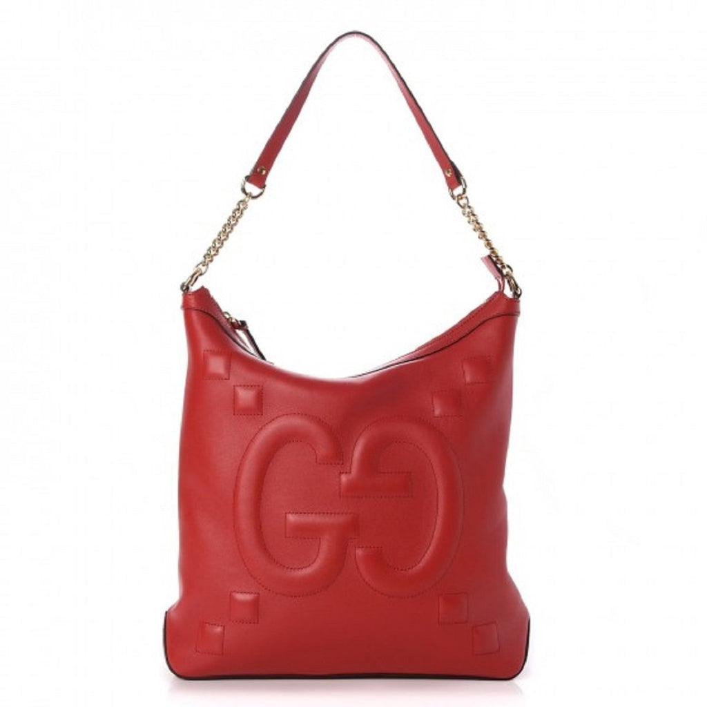 Gucci Calfskin Embossed GG Apollo Soho Shoulder Bag Hibiscus Red 453562 at_Queen_Bee_of_Beverly_Hills