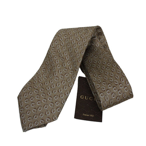 Gucci Classic Henning Horseshoe Patterned Beige Twill Necktie for Men 323829 at_Queen_Bee_of_Beverly_Hills