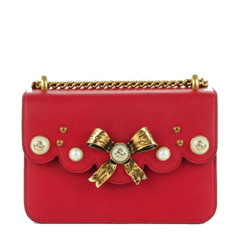 Gucci Classic Women's Red Bow Pearl Leather Chain Shoulder Bag 432281 at_Queen_Bee_of_Beverly_Hills