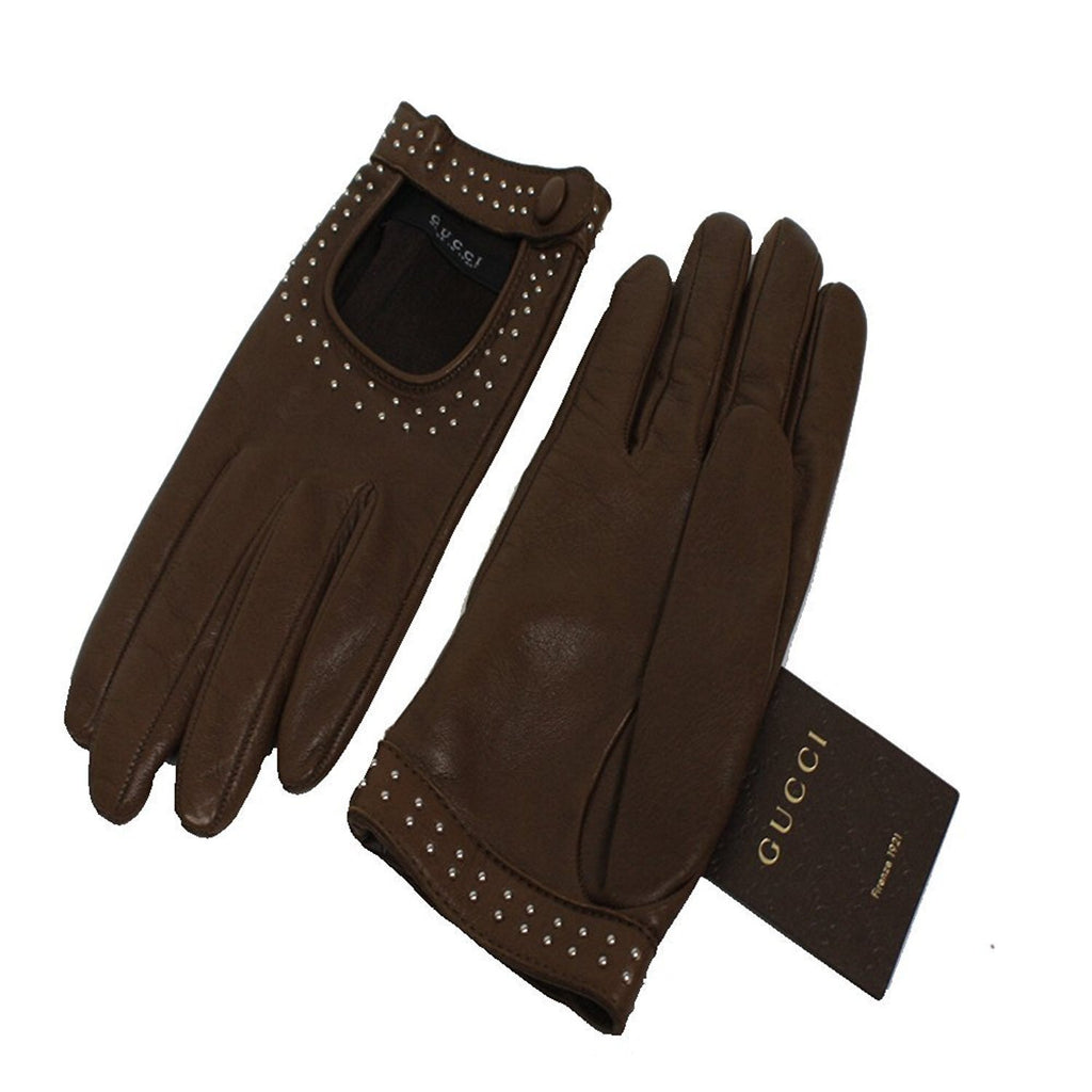 Gucci Classic Women's Studded Brown Leather Riding Gloves One Size 370649 at_Queen_Bee_of_Beverly_Hills