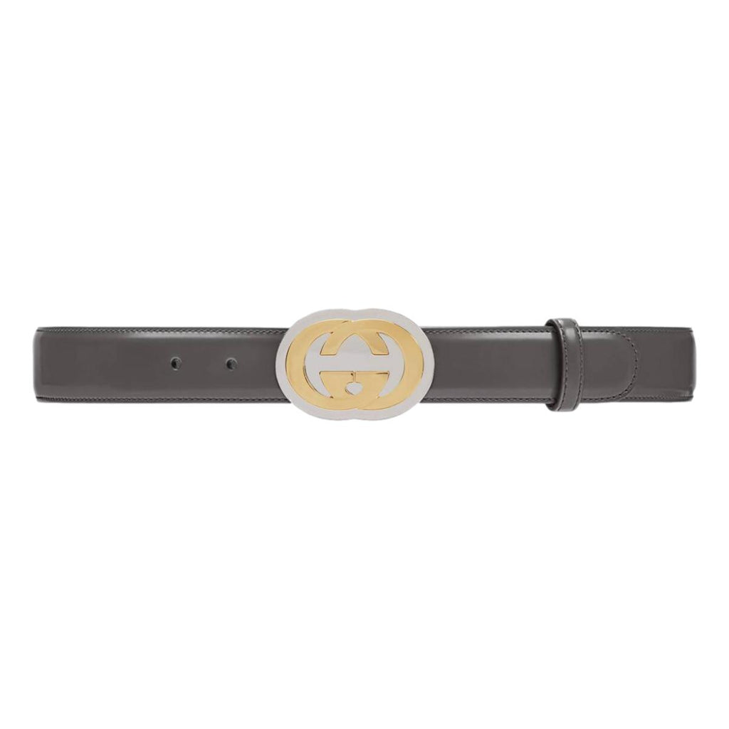 Gucci Dark Grey Leather Two Tone GG Logo Buckle 95/38 598092 at_Queen_Bee_of_Beverly_Hills