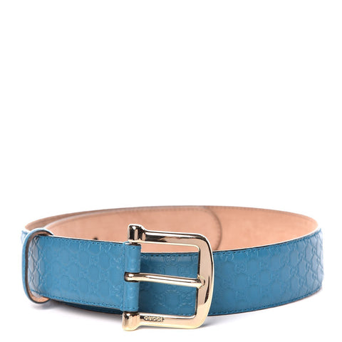 Gucci Deep Cobalt Blue Microguccissima GG Soft Margaux Leather Belt 281548 Size 90/36 at_Queen_Bee_of_Beverly_Hills