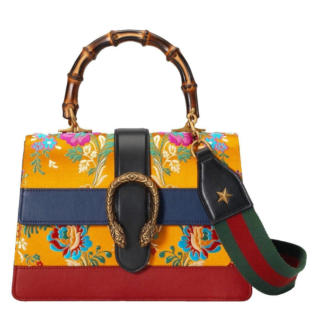 Gucci Dionysis Orange Tokyo Print Bamboo Top Handle w Web Stripe Handbag 448075 at_Queen_Bee_of_Beverly_Hills