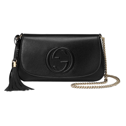 Gucci Disco Soho Women's GG Black Chain Cross Body Handbag 536224 at_Queen_Bee_of_Beverly_Hills