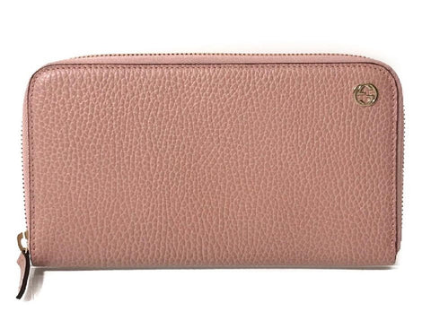 Gucci Dollar Calf Interlocking GG Logo Soft Pink Leather Zip Continental Wallet 449347 at_Queen_Bee_of_Beverly_Hills