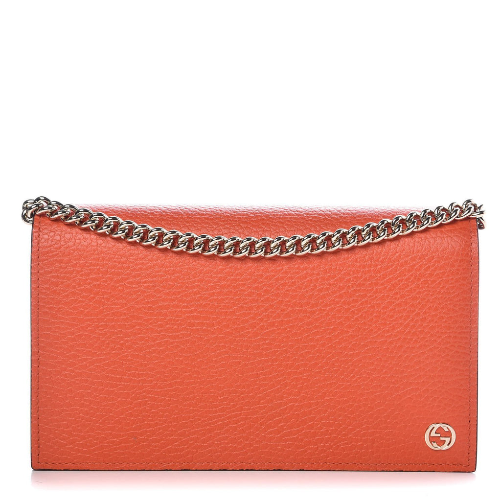 Gucci Dollar Orange Pebbled Leather Wallet Chain Purse Handbag 466506 at_Queen_Bee_of_Beverly_Hills