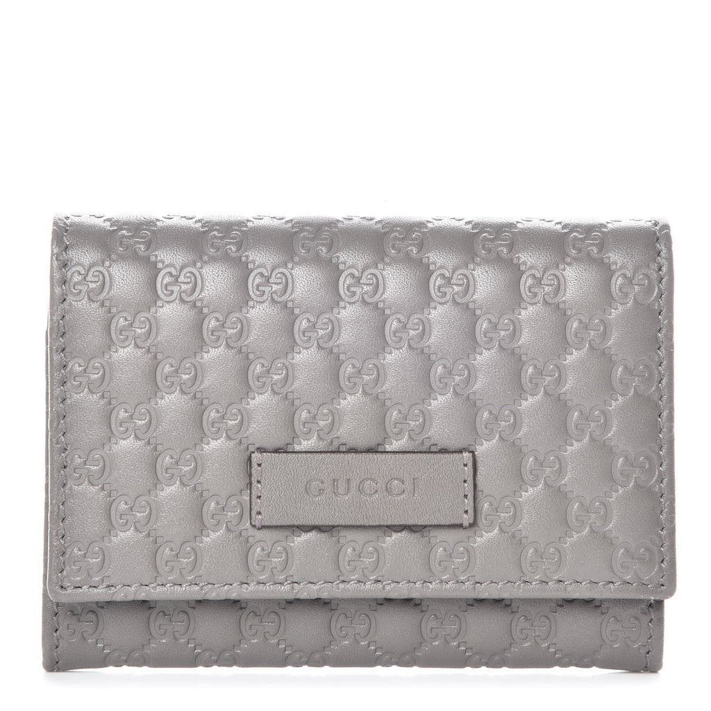 Gucci Embossed Microguccissima Loess Grey Soft Leather Cardholder Flap 544030 at_Queen_Bee_of_Beverly_Hills