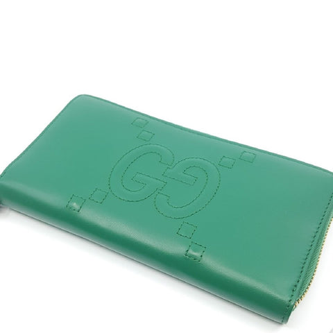 Gucci Emerald Green Embossed GG Dadini/Lion Leather Wallet 453393 at_Queen_Bee_of_Beverly_Hills