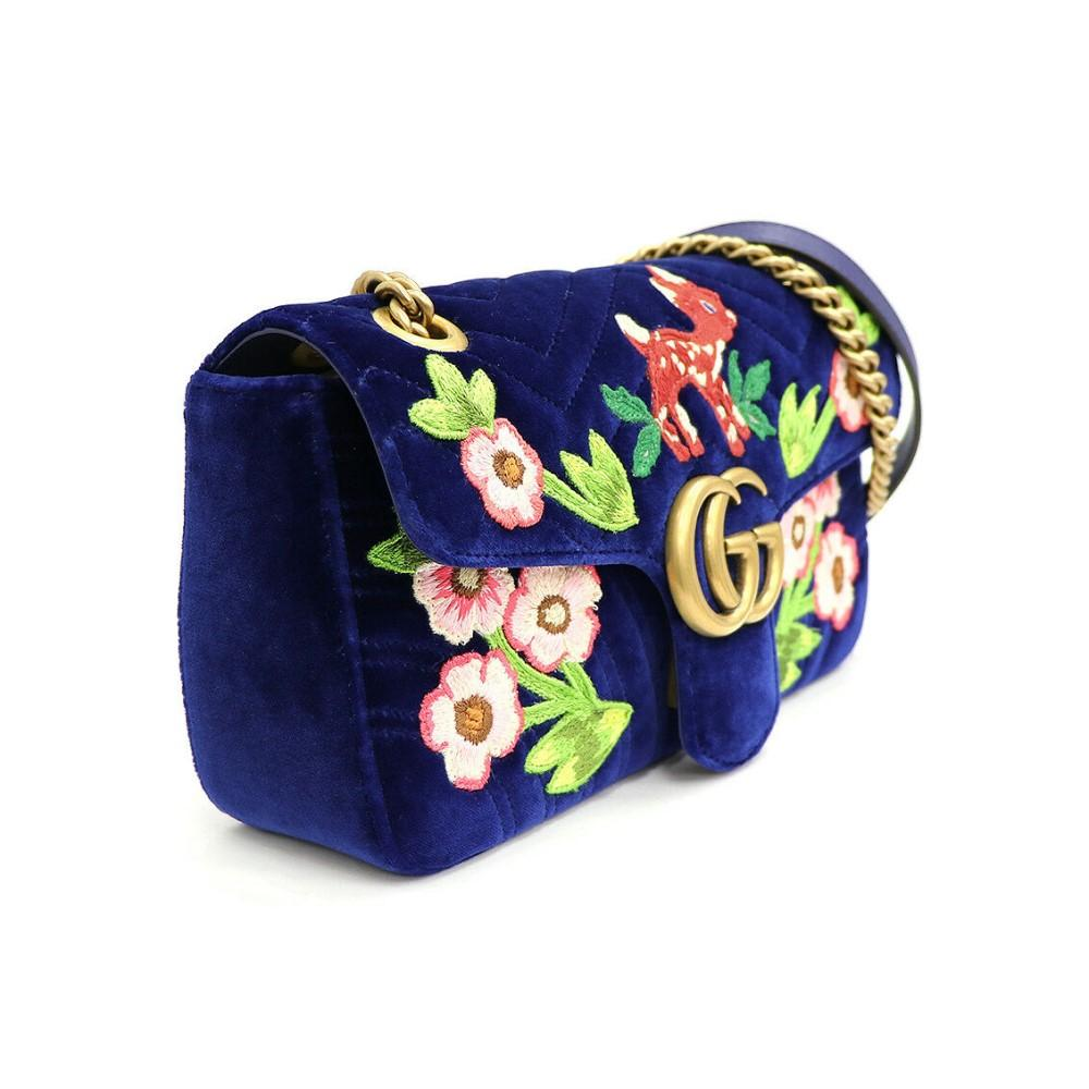 Gucci Flap Marmont GG Embroidered Matelasse Blue Velvet Cross Body 443497 at_Queen_Bee_of_Beverly_Hills