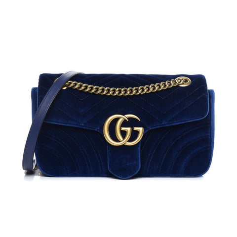 Gucci Flap Marmont GG Matelasse Cobalt Blue Velvet Crossbody 443497 at_Queen_Bee_of_Beverly_Hills