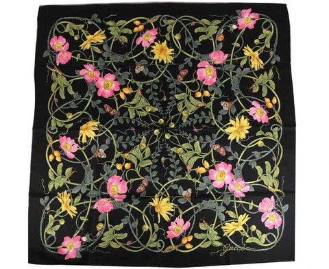 Gucci Flower Webby Garden Silk Black Large Square Scarf 494604 at_Queen_Bee_of_Beverly_Hills