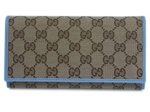 Gucci GG Canvas Beige Mineral Blue Calf Leather Continental Flap Wallet 346058 at_Queen_Bee_of_Beverly_Hills