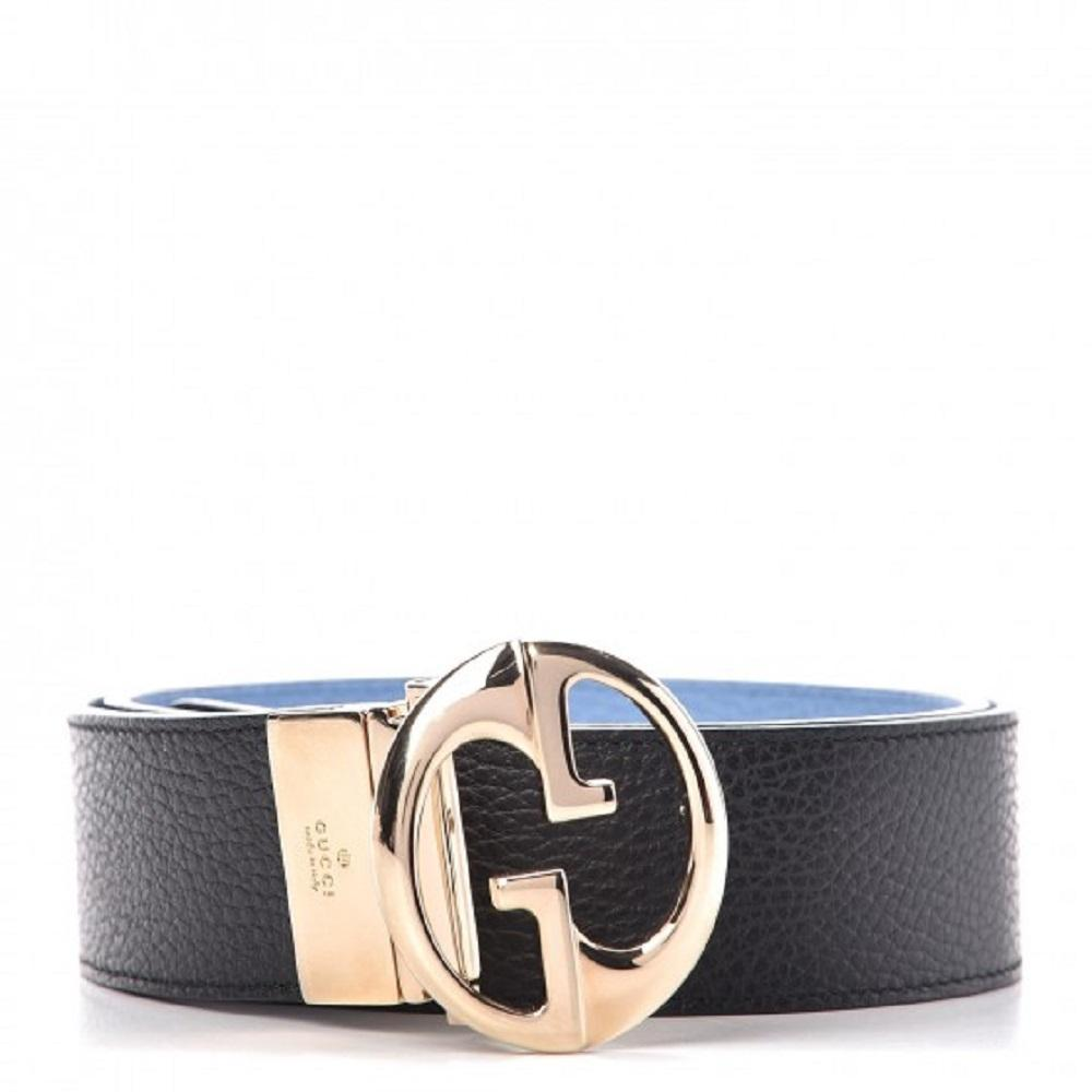 Gucci GG Dollar Calf Leather Nero Black/ Mineral Blue Reversible Belt Size 85/34 450000 at_Queen_Bee_of_Beverly_Hills