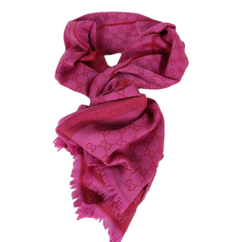 Gucci GG Guccissima Pink and Red Silk Scarf Shawl Wrap 282390 at_Queen_Bee_of_Beverly_Hills