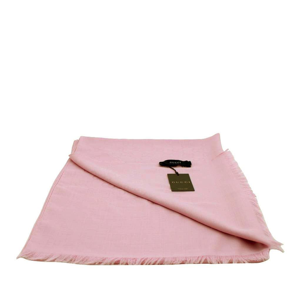 Gucci GG Guccissima Rose Pink Wool Silk Blend Medium Scarf 165904 at_Queen_Bee_of_Beverly_Hills