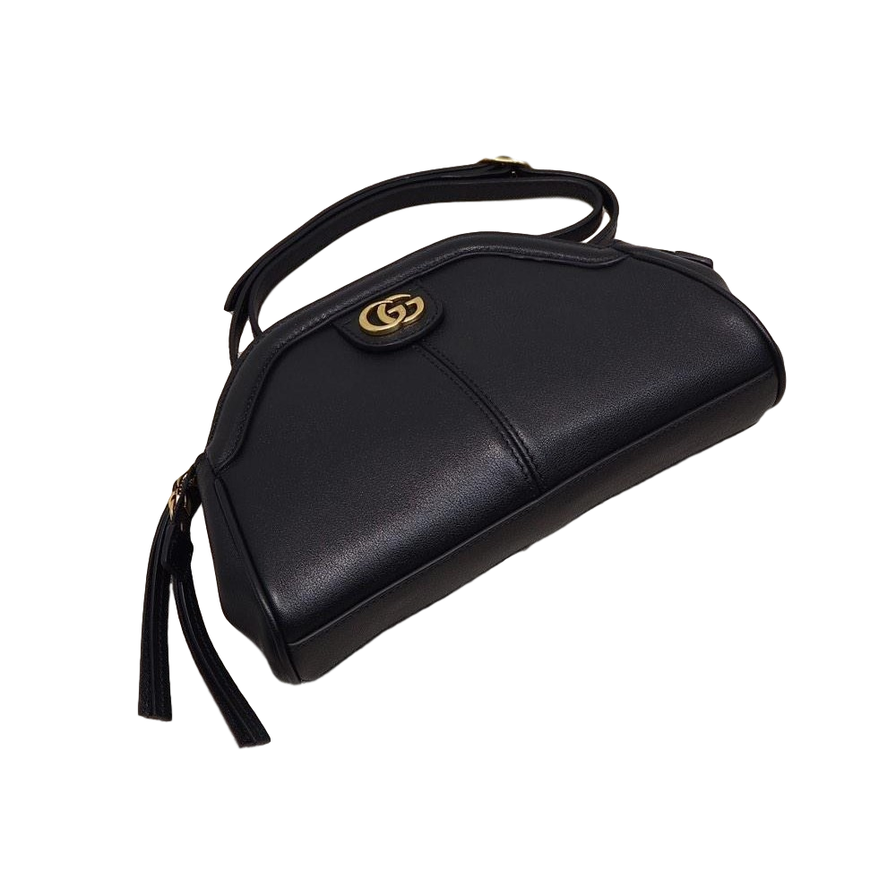 Gucci GG Logo Re(Belle) Gold Tiger Head Black Leather Cross-body Bag 524620 at_Queen_Bee_of_Beverly_Hills