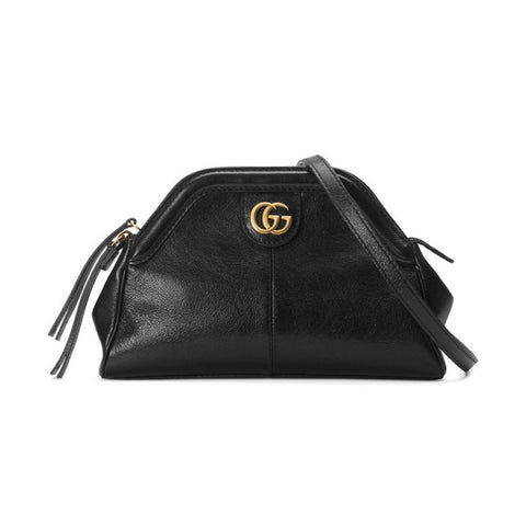 Gucci GG Logo Re(Belle) Gold Tiger Head Black Leather Shoulder Bag 524620 at_Queen_Bee_of_Beverly_Hills