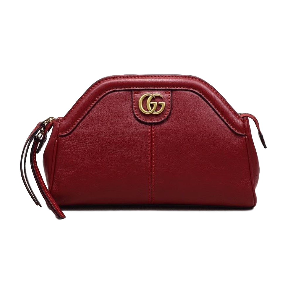 Gucci GG Logo Re(Belle) Gold Tiger Head Red Leather Shoulder Bag 524620 at_Queen_Bee_of_Beverly_Hills