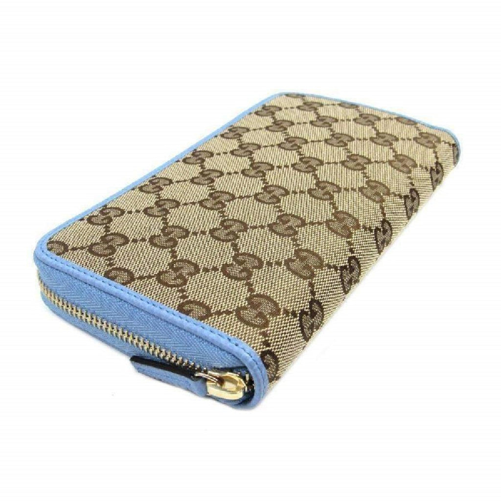 Gucci GG Original Beige Logo Canvas Leather Mineral Blue Wallet 363423 at_Queen_Bee_of_Beverly_Hills